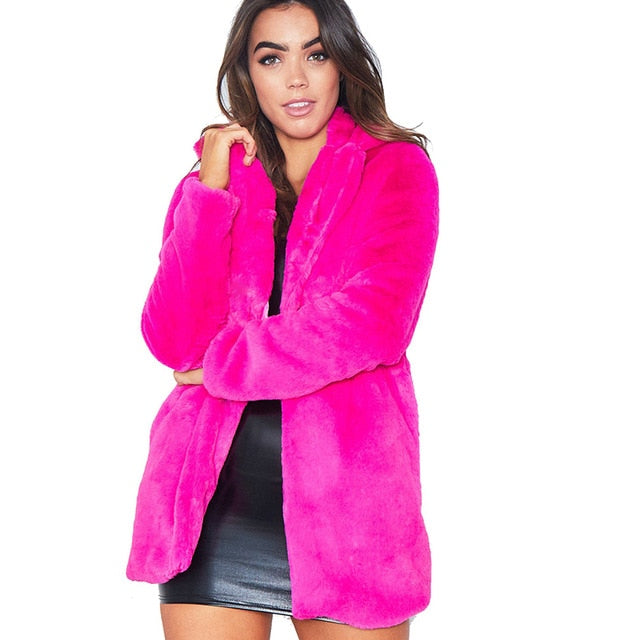 FHILLINUO long women's faux fur coat hot sale casual  solid loose soft rabbit fur outwear for female 7 color to choose