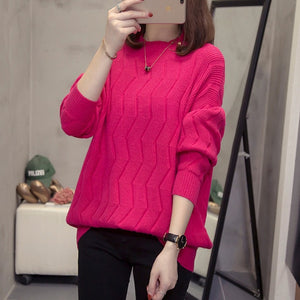 Plus Size Batwing Sleeve Knitted Pullover Women Sweater Autumn Winter Fashion Loose Oversized Runway Jumper Warm Lady Knitwear