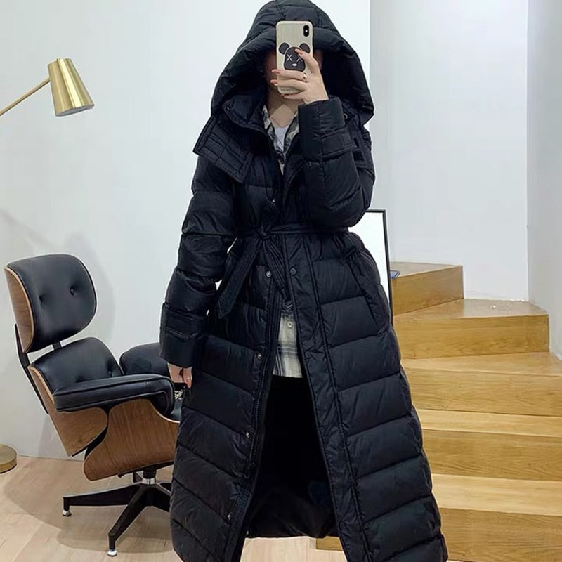 Down jacket women hooded large size puffer jacket korean 2019 fashion white duck down coat winter female long coat women