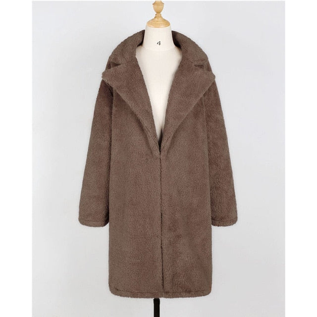 Fashion Long Faux Fur Coat Women Autumn Winter Warm Soft Teddy Coat Outwear Casual Fur Jacket Female Pocket Overcoat