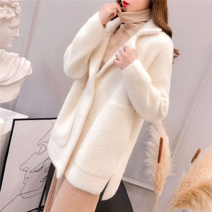 2019 Autumn and winter new women's long-sleeved mink fur coat loose easy matching thick cardigan fashion solid color coat