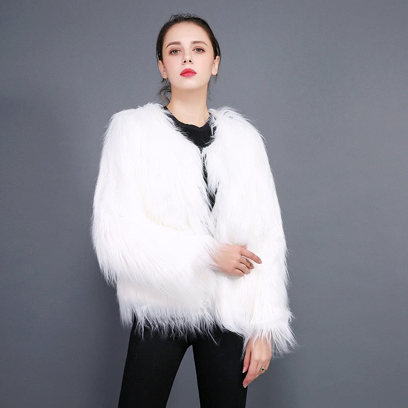 JULY'S SONG Women Faux Fur Coat Women Vest Autumn winter Long Sleeves White Outerwear Hairy Fluffy Ladies Fashion Overcoat