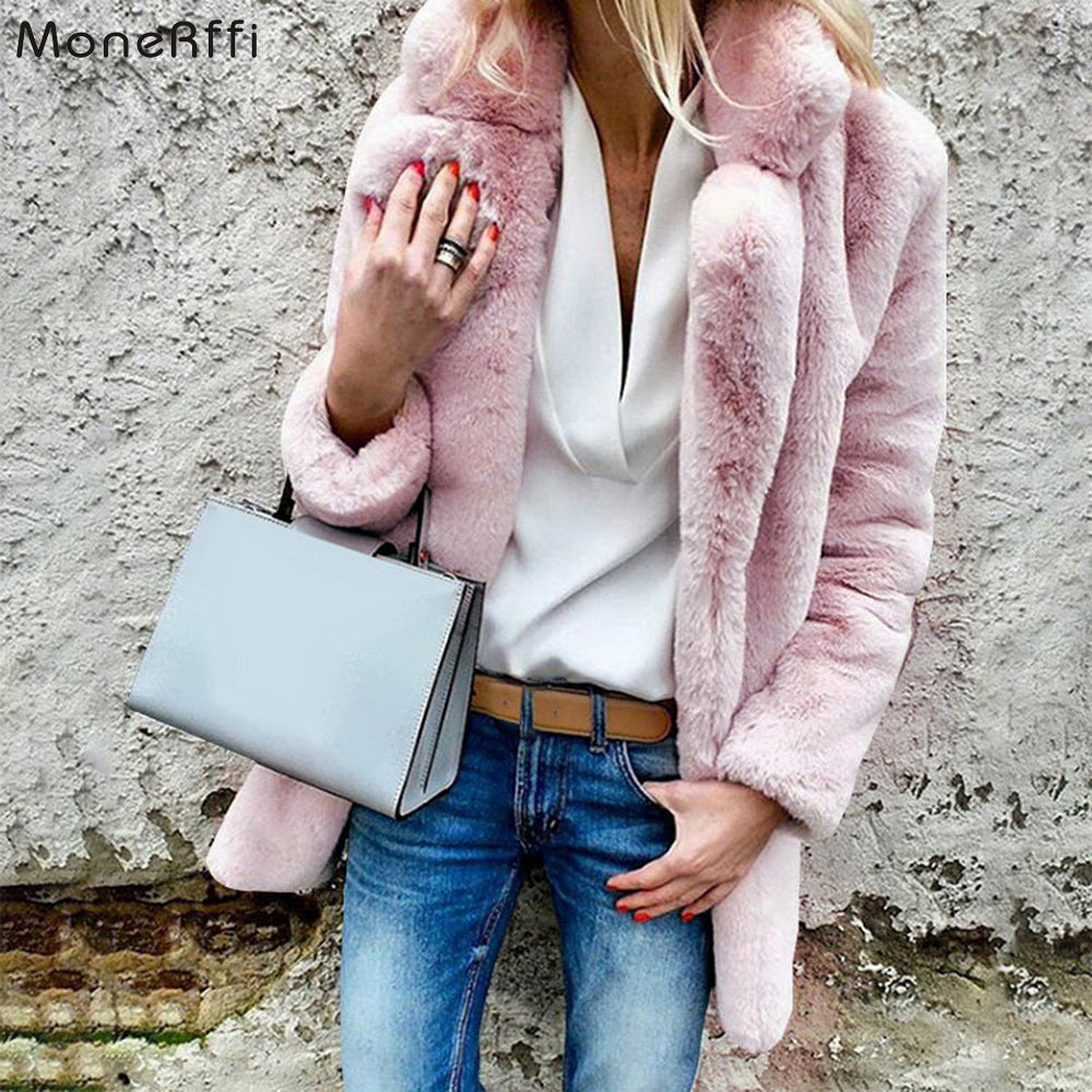 MoneRiff Women Faux Fur Coats Winter Solid Fashion Open Point Outwear Female Luxury Long Sleeve Warm Thick Fluffy Jacket Coat