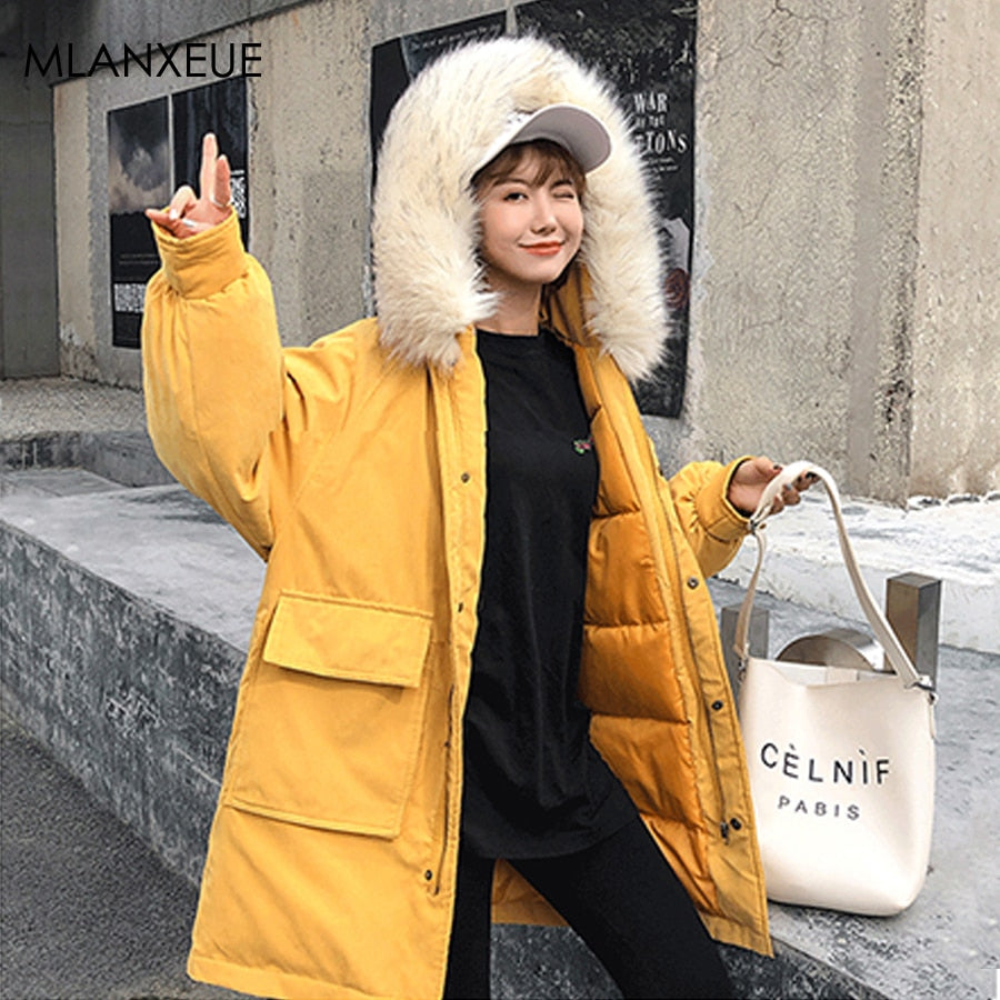 Solid Fur Hooded Zipper Coat Women Winter Warm Thicken Windproof Parka Jacket Female Korean Streetwear Loose Pocket Outerwears