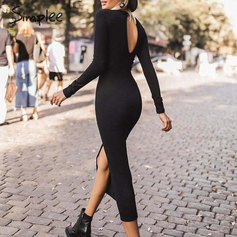 Simplee Bodycon sexy dress Elegant office lady autumn o-neck long sleeve dress Sheath backless solid work wear long party dress