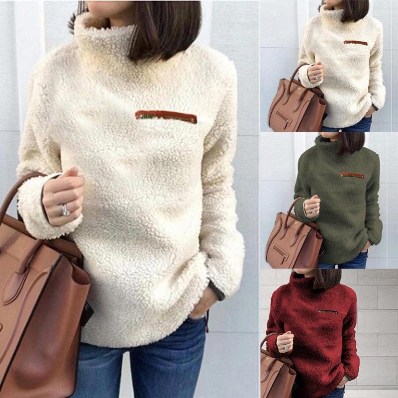 Women Fluffy Fleece Sweatshirt Pullover Winter Casual Turtleneck Zipper Fleece Female Hoodies Loose Warm Soft Solid Women Tops J
