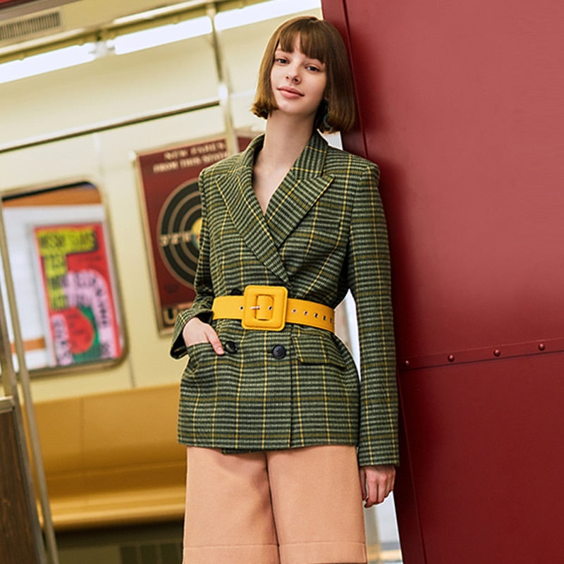AEL Woolen Blazer Double-breasted suit jacket women Elegant slim checked ladies office outer clothing 2019 winter jacket coat