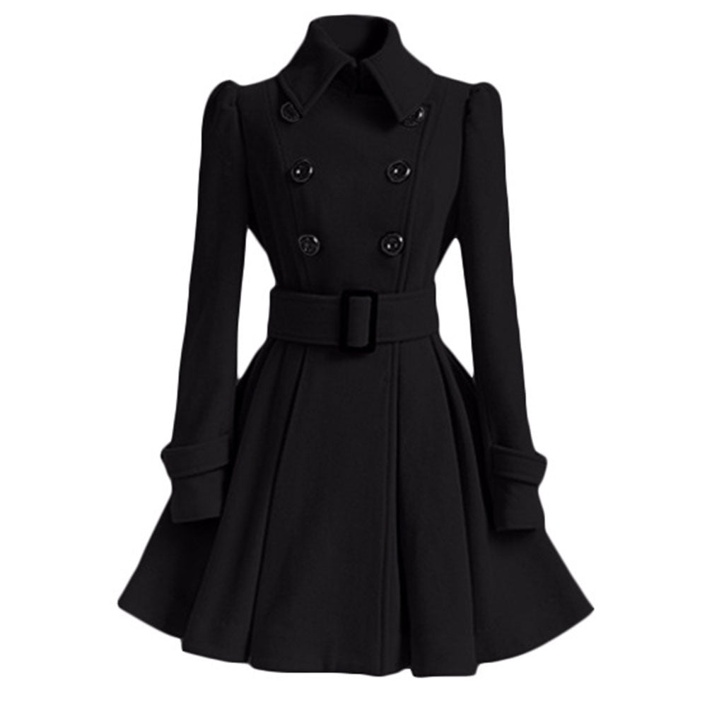 Women Vintage Woolen Coat Winter Warm Windbreaker England Fashion Black Swing Hem Belt Slim Elegant Retro White Wool Overcoat