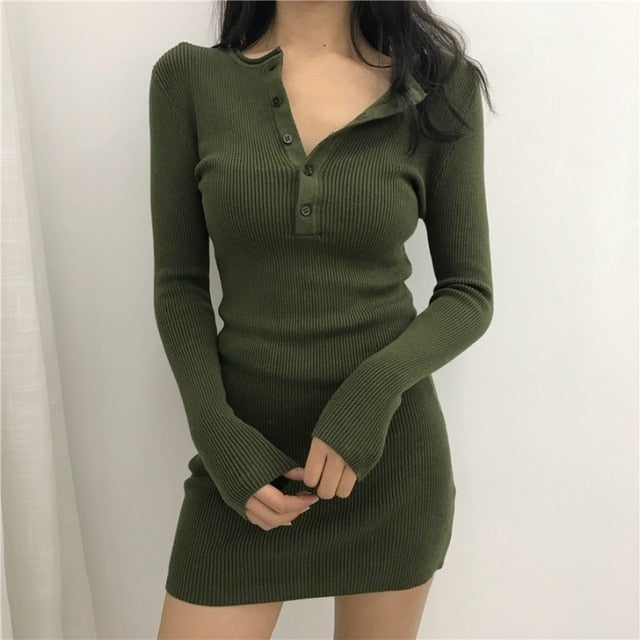 2019 knitted sweater bodycon winter dresses women autumn v neck long sleeve sexy Above  midi dresses elastic slim party dress