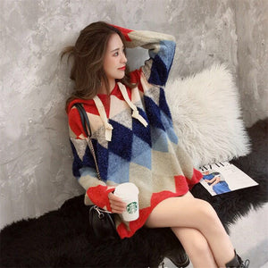 2019 Female new Koran knitted Knitted sweater hooded autumn and winter plaid sequins O-neck pullovers causal long sleeve