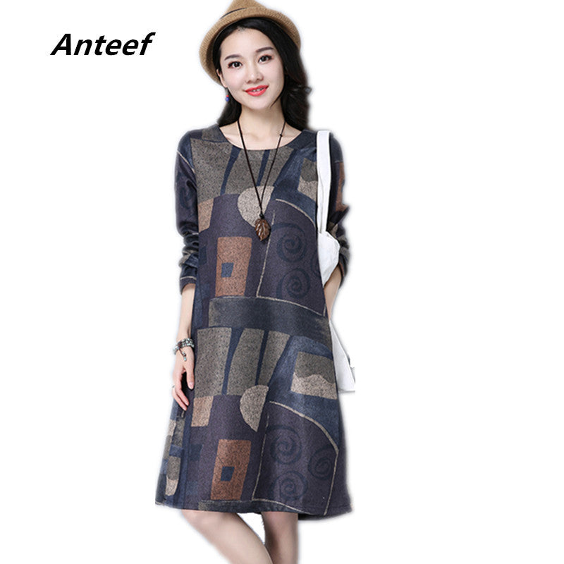 long sleeve cotton vintage print women casual loose midi autumn spring winter party dress elegant clothes 2019  ladies dresses