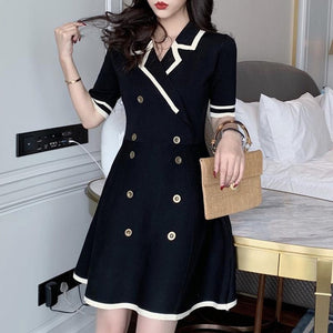 Trytree Summer Dress Elegant Casual Women Solid Notched Collar dresses Double-breasted Knitting A-line Mini Office Lady Dress
