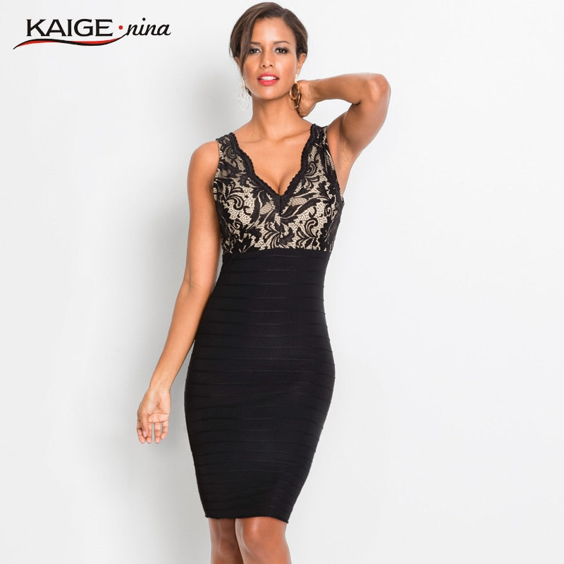 Women's Summer Black Sexy Lace V-Neck Sheath Dress Empire Sleeveless Floral Knee-Length Slim Dress Lady Dress 18068
