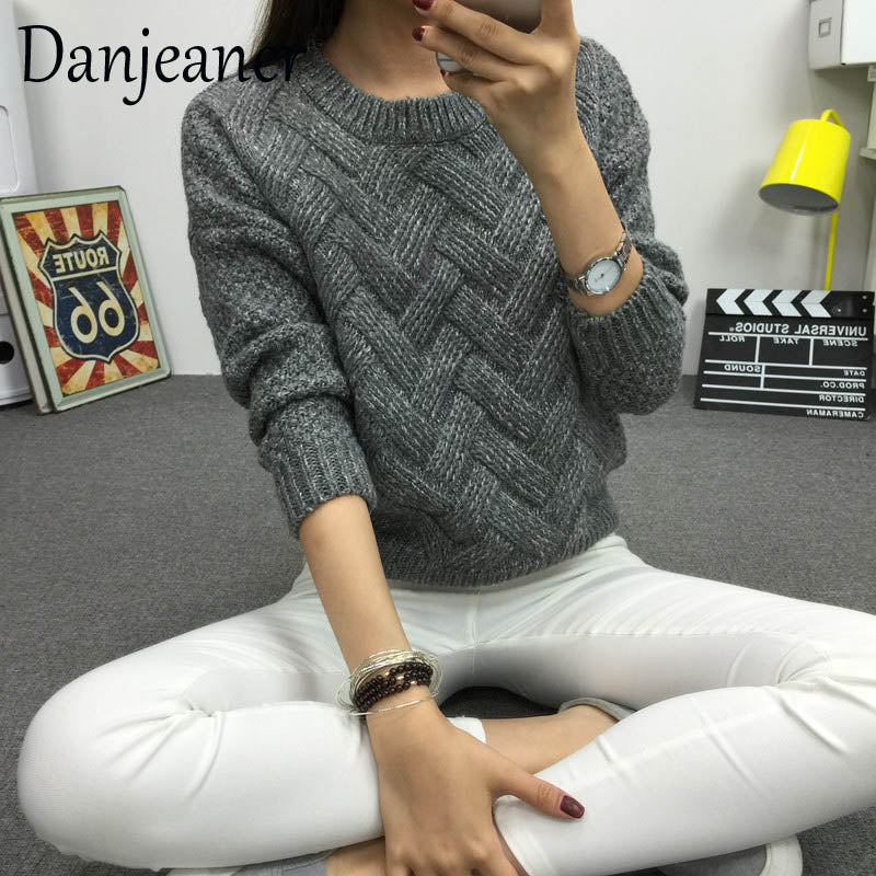 Danjeaner 2018 Vintage Women Sweater New Fashion O-neck Pullover Winter Knit Basic Tops Loose Female Knitwear Outerwear Coats