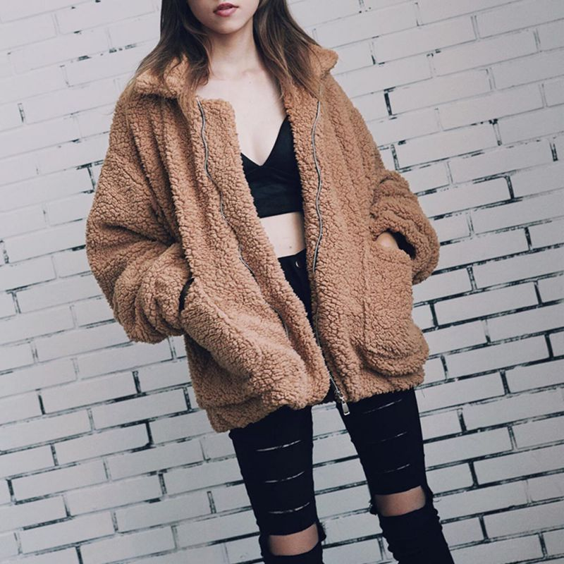 Elegant Faux Fur Coat Women 2018 Autumn Winter Warm Soft Zipper Fur Jacket Female Plush Overcoat Pocket Casual Teddy Outwear