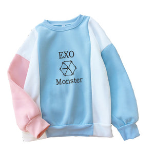 Women Hoodies Kpop Group EXO Fans Clothings kar sehun xiumin baekhyun terra Sticker Sweatshirt Patchwork Hit Color Hoodie Top