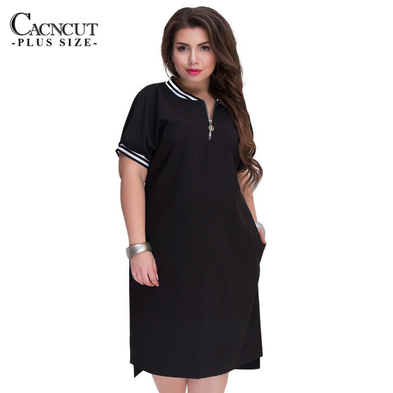 CACNCUT 5XL 6XL 2019 Plus Size Straight Dresses Women O-Neck With Zippers Big Size Summer Casual Loose Solid Dress Red Vestidos