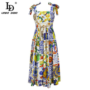 LD LINDA DELLA New 2019 Fashion Runway Summer Dress Women's Bow Spaghetti Strap Gorgeous Floral Print Midi Cotton Dress vestidos