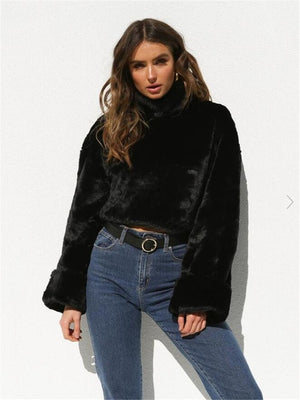 2019 Fashion Women Turtleneck Sweaters Long Sleeve Soft Plush Autumn Winter Casual Sweater Thick Warm Faux Fur Pullover Tops