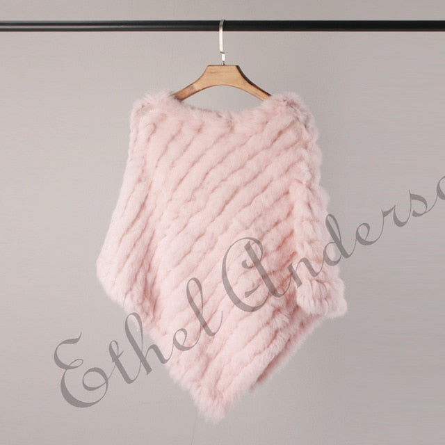 Ethel Anderson Fur Poncho Lady Real Rabbit Fur Knitted Capes Wrap Beauty Wedding Triangle Shawls Vogue Style Colorful Promotion