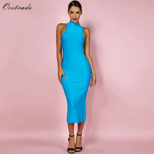 Ocstrade Women Summer Bandage Dresses 2019 Aqua Blue Bandage Midi Dress High Neck Sexy Bodycon Bandage Rayon Dress High Quality