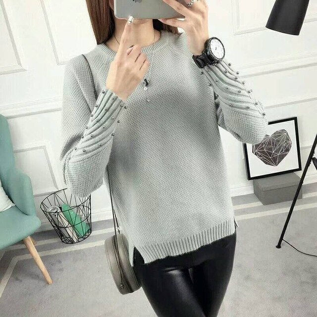 2019 Winter Women's Blouses Pullover Long Sleeve O-Neck  Slim Women Knitted Sweater For Women Long Tops
