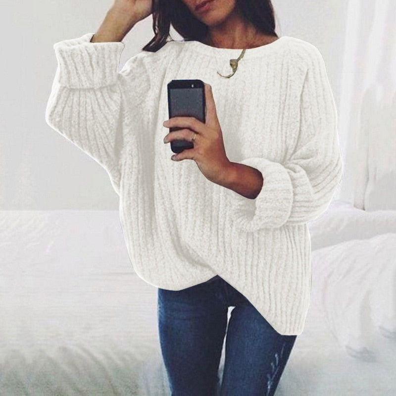 2019 Women Autumn Winter Women Sweater O-neck Knitted Pullover High Quality White Black Jumper