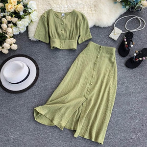 New Women Two Piece Set 2019 Sexy Summer Outfits Woman Clothes Fashion V Neck Crop Top + Slim A-line Long Skirts Suits 2 Pc Sets
