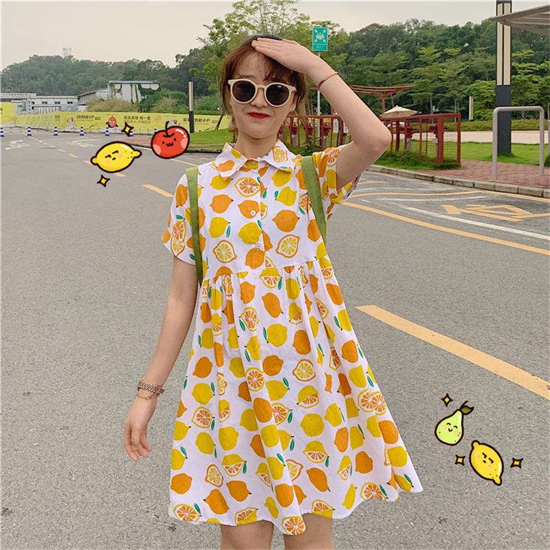 Women's Lovely Dresses Chic Ins Kawaii Cute Fruit Lemon Print Dress Female Sweet Harajuku Punk Clothes For Women Casual