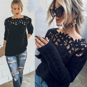 Women's Loose Knitted Pullover Jumper Sweater O Neck Long Sleeve Knitwear Top Lace Floral Collar Winter