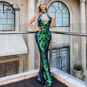 Missord 2019 Women Sexy High Neck Off Shoulder Sequin CLUB resses  Elegant Maxi party Dress Vestdios  FT18727-3