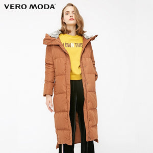 Vero Moda new detachable rabbit fur hooded long down jacket women | 318312503