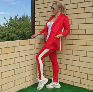 Taotrees women temperament pant suits side striped patchwork blazer jacket and trouser 2 piece set comfortable tracksuit