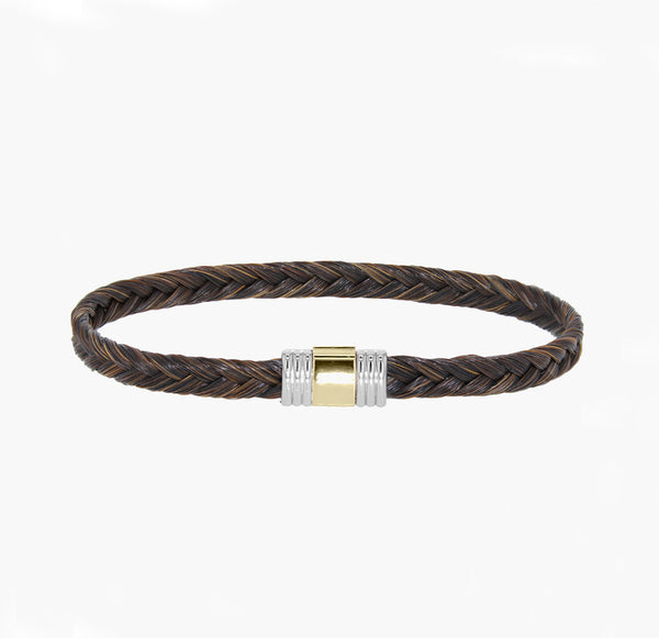 bracelet albanu crin de cheval marron 6 mm