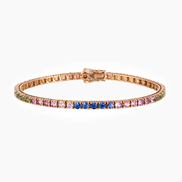 BRACELET RIVIERE  RAINBOW OR ROSE 5,40 CT