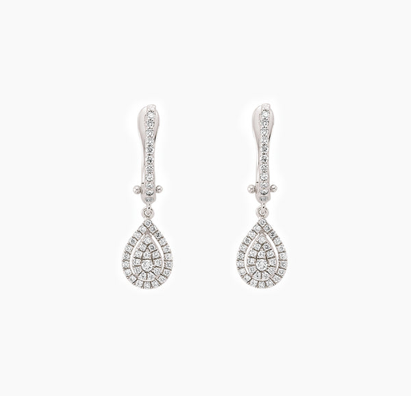 BOUCLES POIRES DIAMANTS PENDANTES OR BLANC