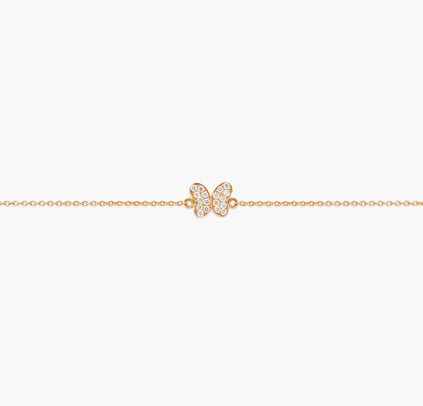 Bracelet Butterfly or rose et diamants