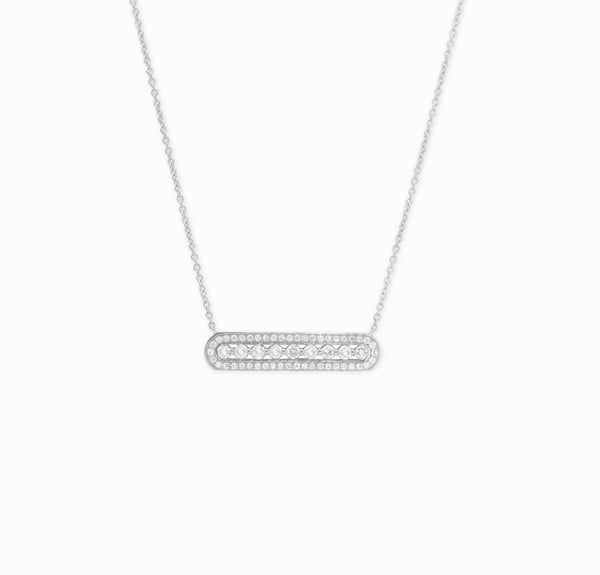 COLLIER RECTANGLE PLEIN OR BLANC