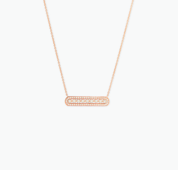 COLLIER RECTANGLE PLEIN OR ROSE