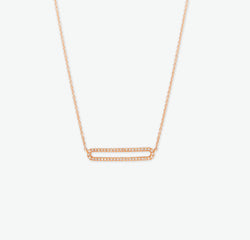 COLLIER RECTANGLE OUVERT OR ROSE
