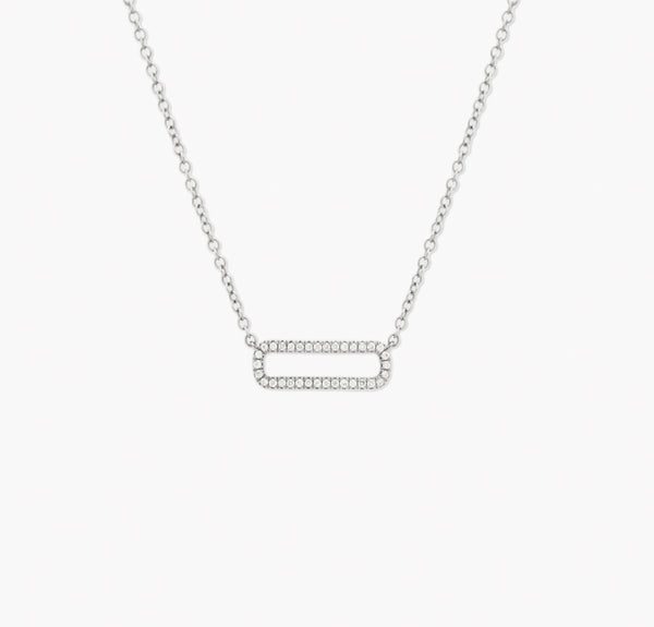 COLLIER MINI RECTANGLE OR BLANC