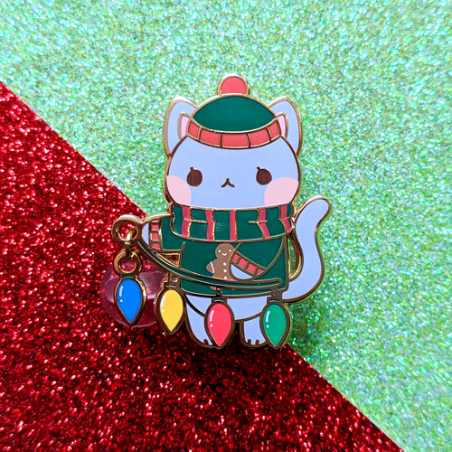 Holiday Cat Dangling Pin