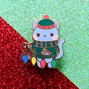 Load image into Gallery viewer, Holiday Cat Dangling Pin