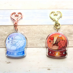 Load image into Gallery viewer, Vulpix Snow Globe Keychains