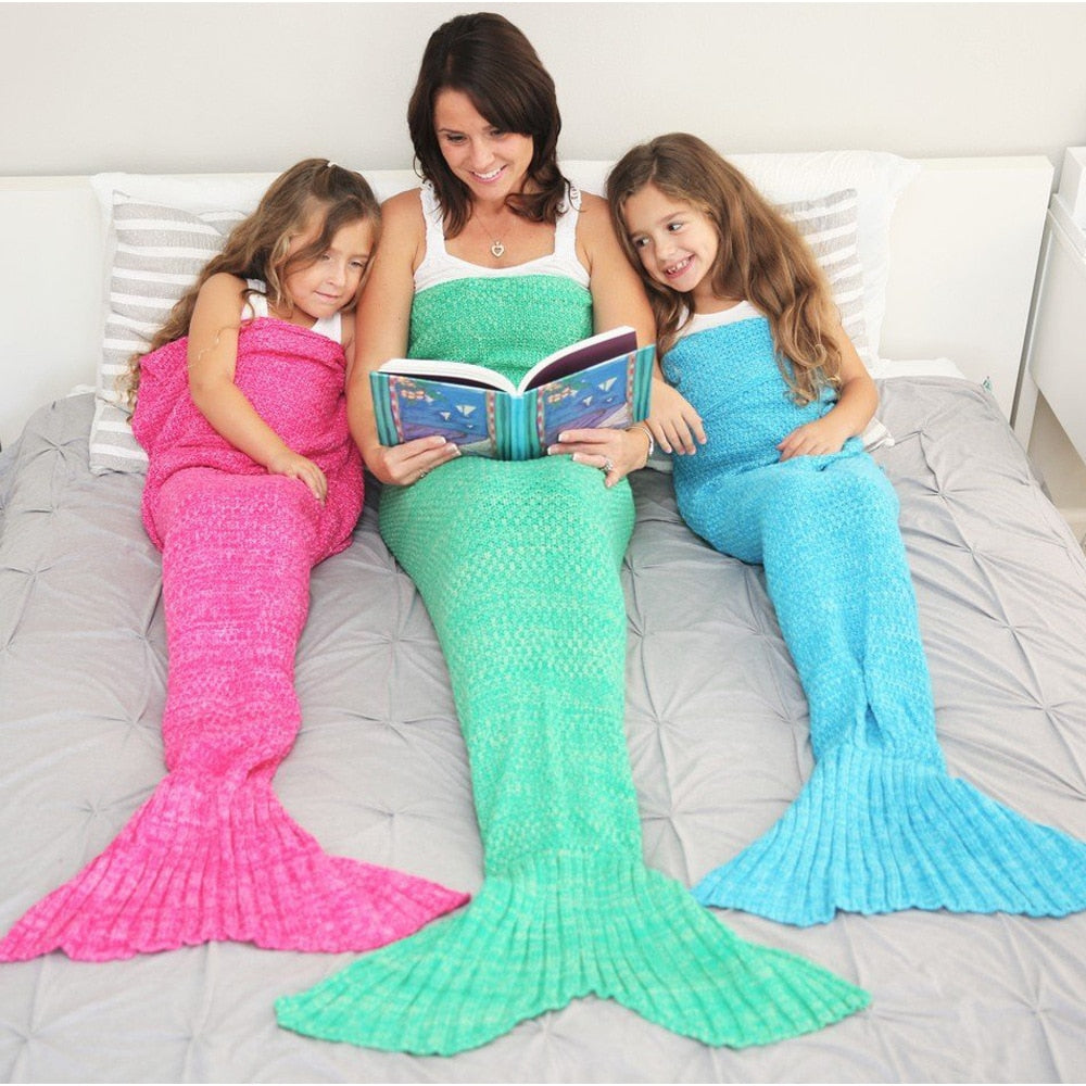 Mermaid Tail Blanket for Kids & Adults - in 12 spectacular colours & 4 sizes