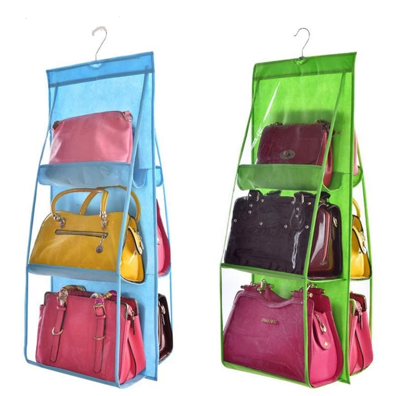 6 Pocket Hanging Handbag Organiser - choice of 6 colours