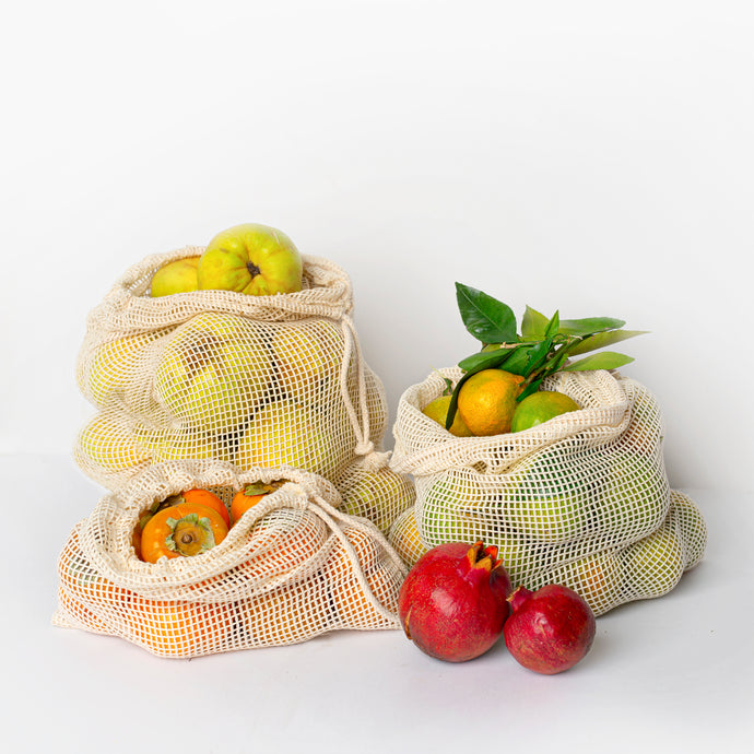 Cotton 100% Net Produce Pouch - Set of 3 (3 sizes)