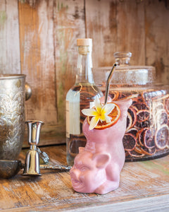 Pink Pig Bottoms Up Ceramic Cocktail Tiki Mug