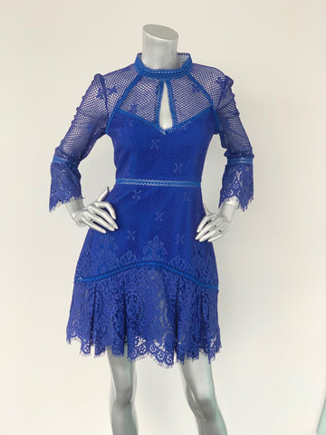 Forever New Bright Blue Lace Mini Dress