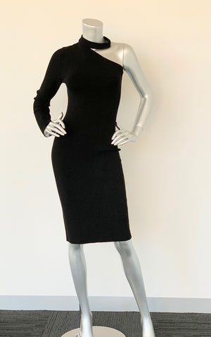Forever New Black One Shoulder Knit Dress